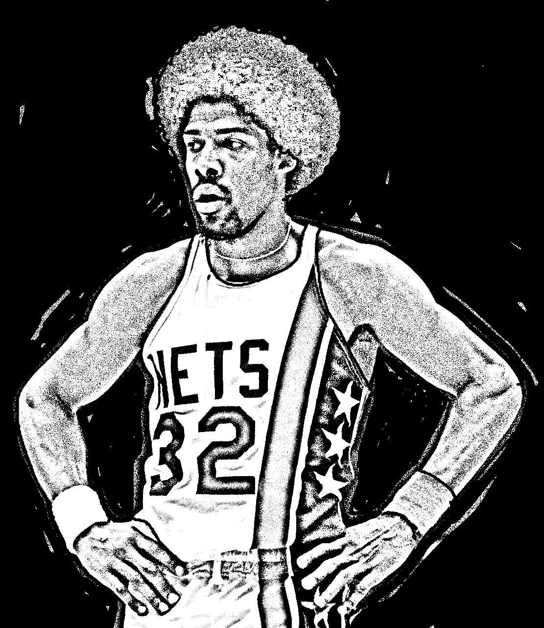 Desenho de Julius Erving de Basket NBA para imprimir e colorir