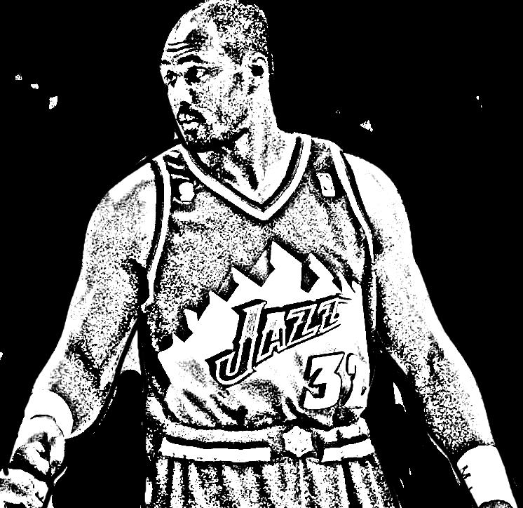 Desenho de Karl Malone de Basket NBA para imprimir e colorir
