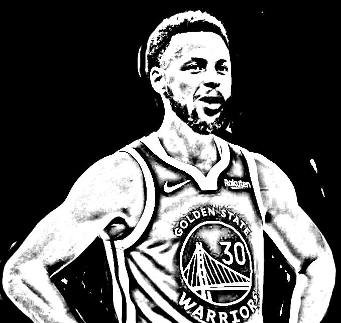 Desenho de STEPH CURRY de Basket NBA para imprimir e colorir
