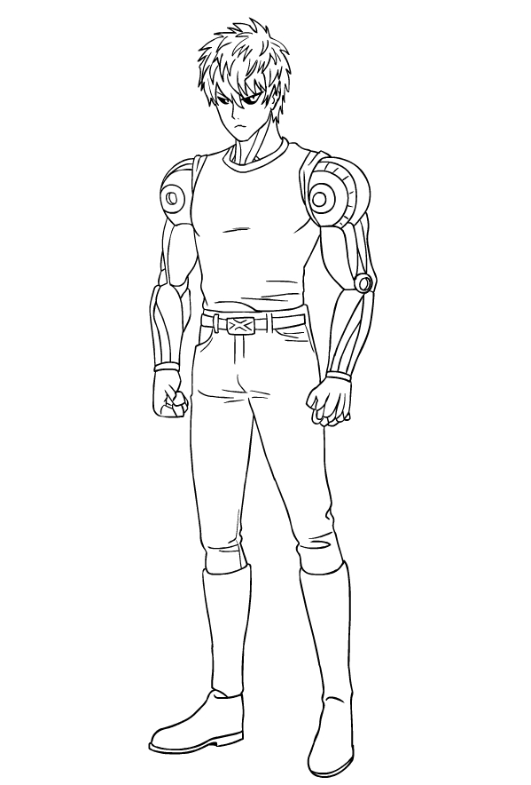 Genos From One Punch Man Coloring Page