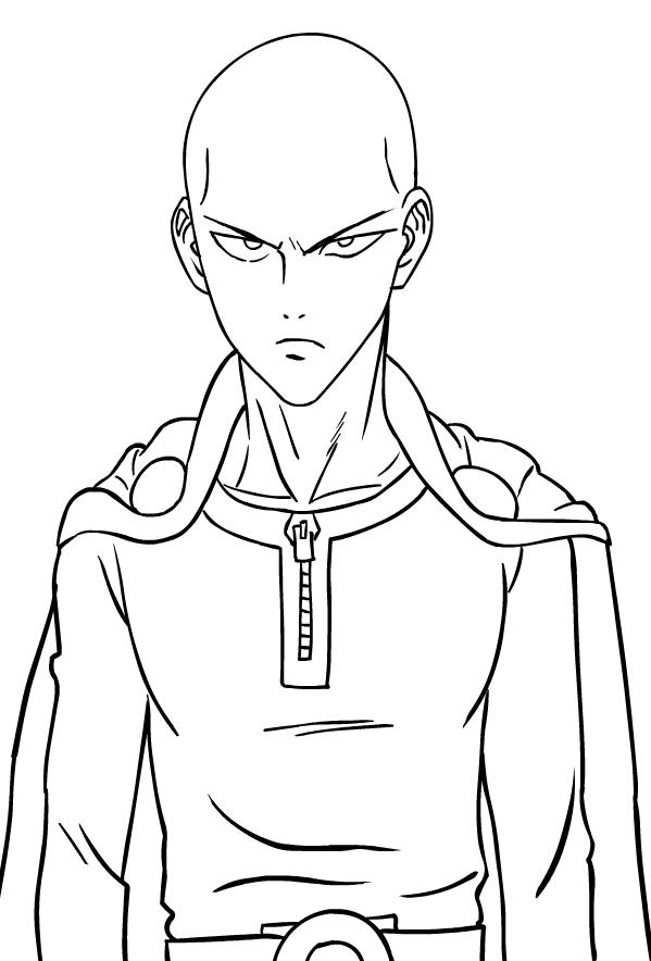 Coloriage de Saitama de les One-Punch Man