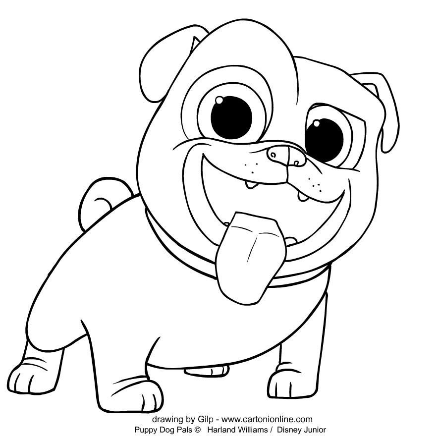 Página para colorear de Puppy Dog Pals Bingo para imprimir y colorear