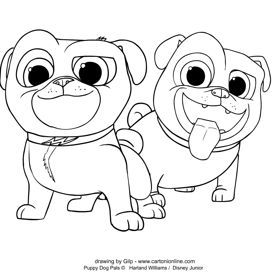 Bingo, Rolly von Welpen Freunde coloring page to print and coloring