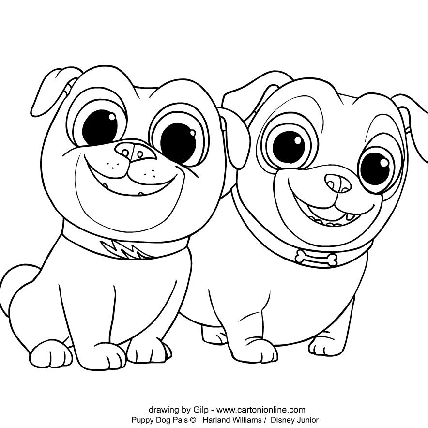 Página para colorear de Puppy Dog Pals para imprimir y colorear
