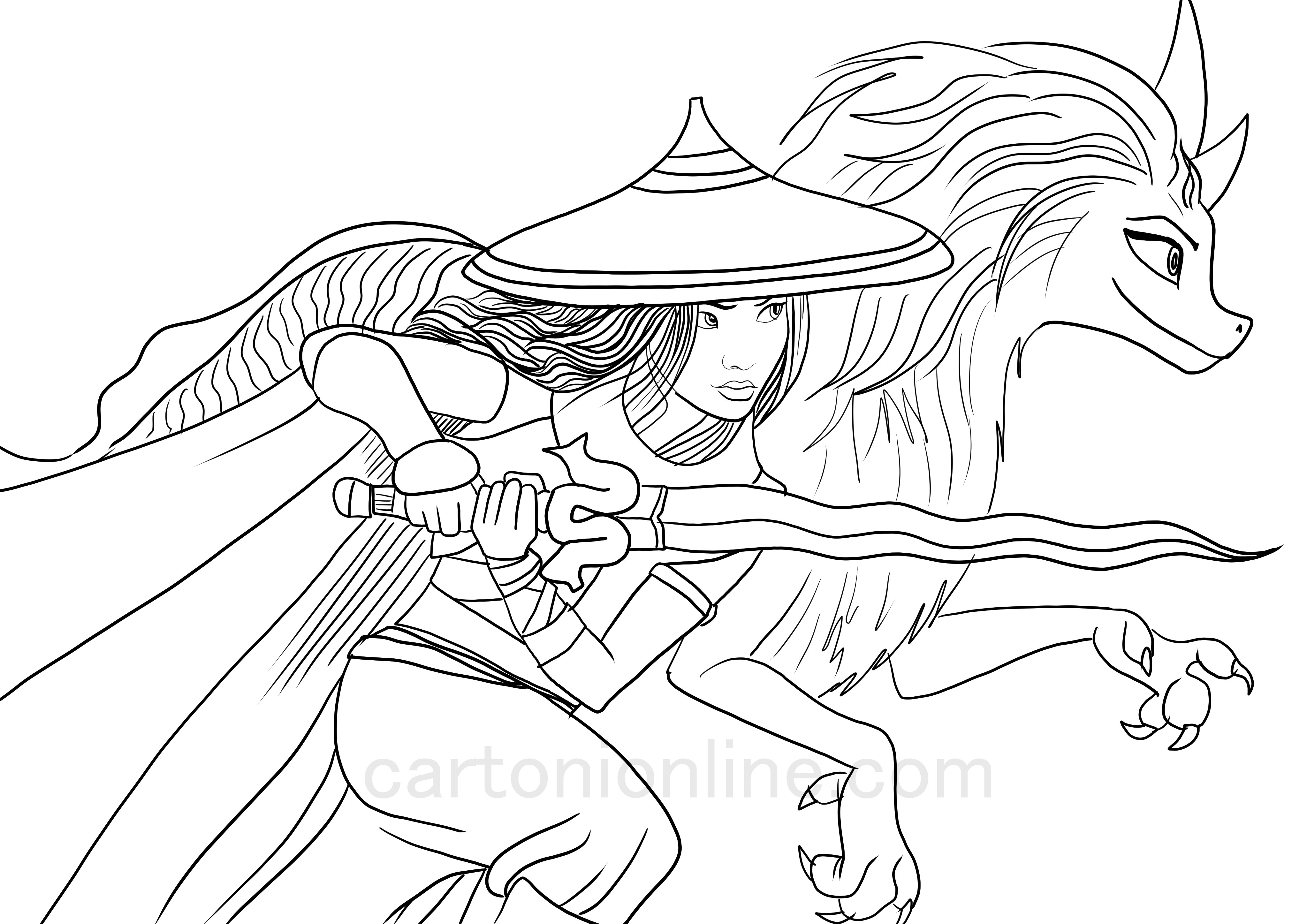 Raya, Sisu from Raya and the Last Dragon coloring pages to print and coloring