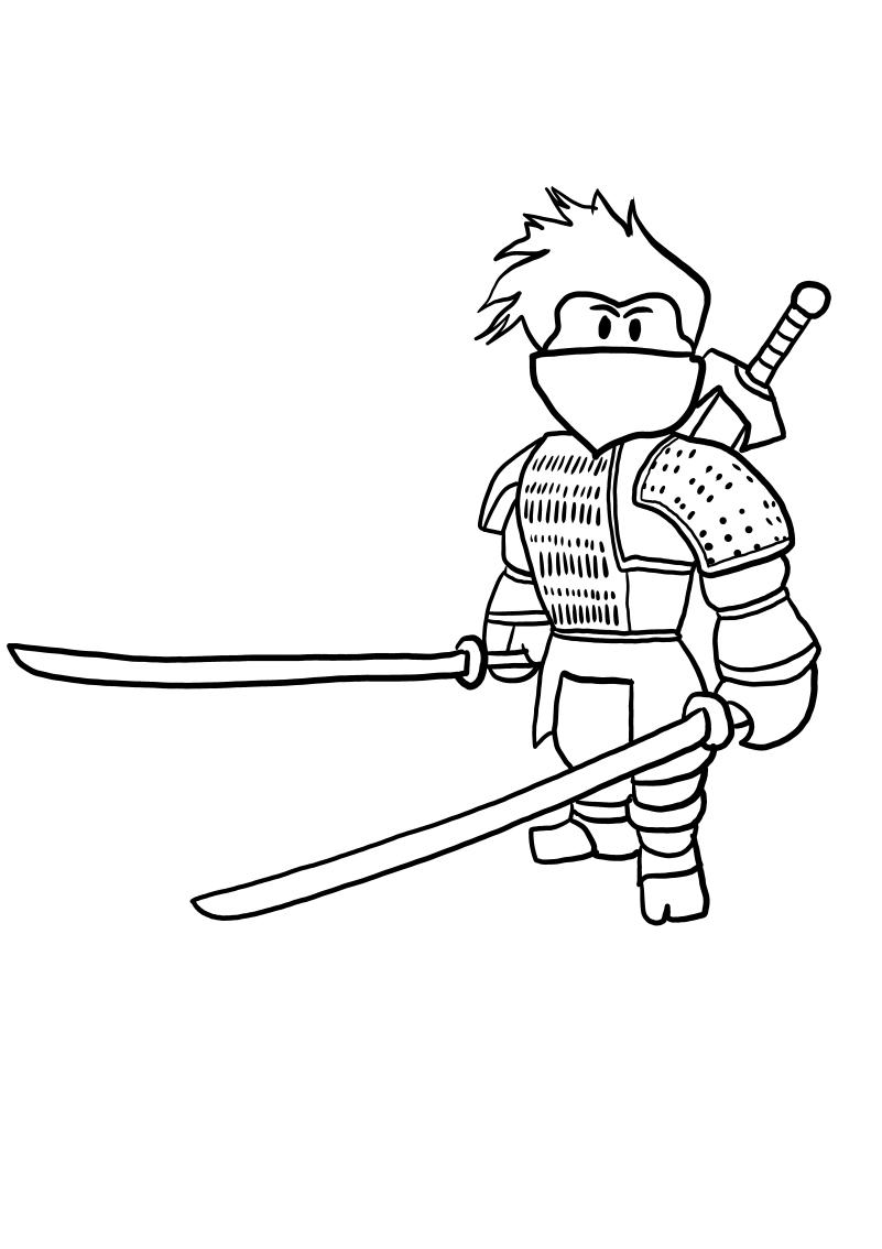 Ninja from Roblox värityskuvat tulostaa ja värittää
