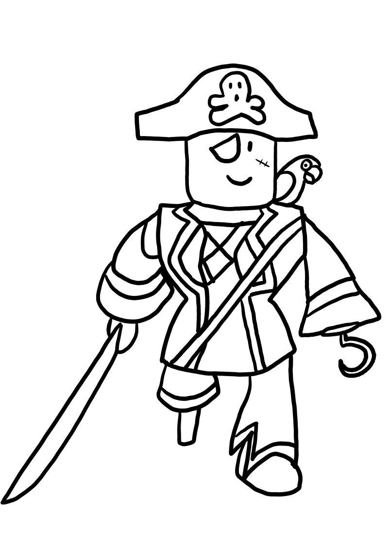 Pirate from Roblox värityskuvat tulostaa ja värittää