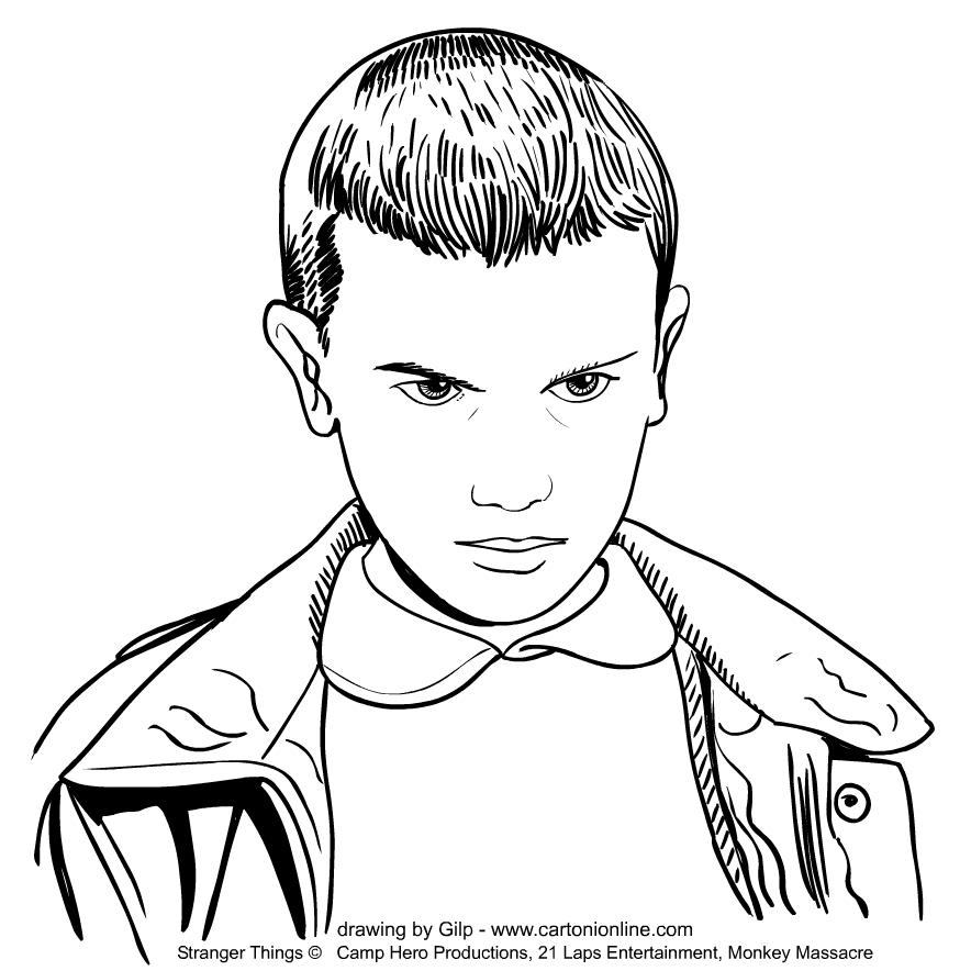 Eleven (Millie Bobby Brown) from Stranger Things värityskuvat tulostaa ja värittää