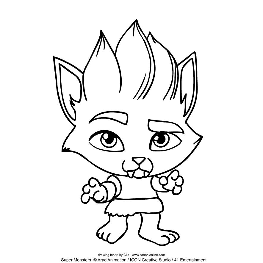 Super Monsters Lobo Howler kleurplaat om af te drukken en te kleuren