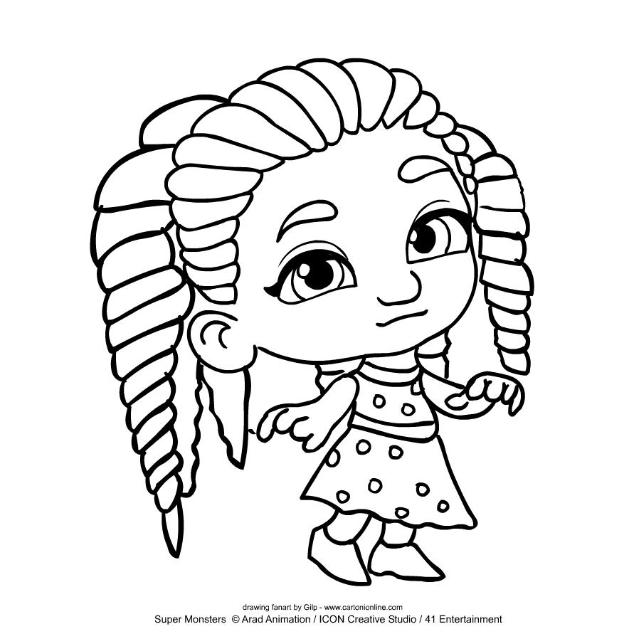 Colorear Super Monsters Zoe Walker para imprimir y colorear