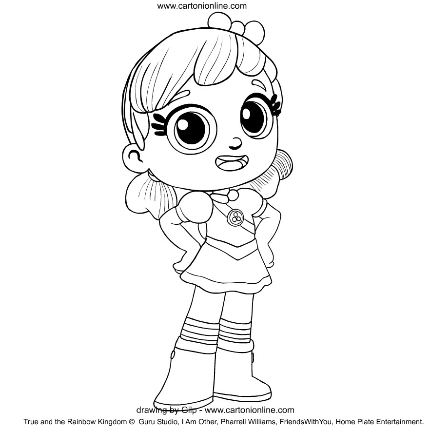 True from True and the Rainbow Kingdom coloring page to print and coloring