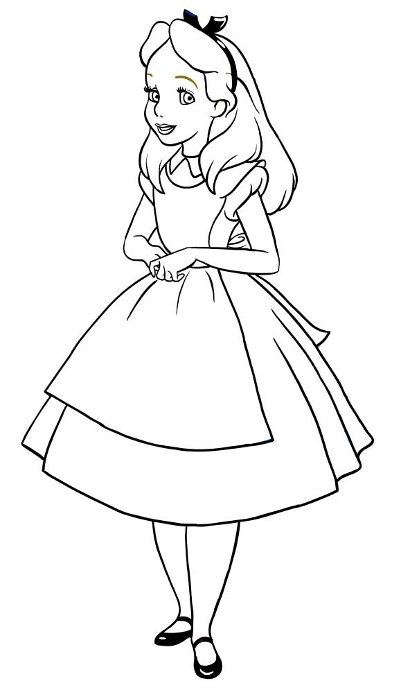 Disegno Di Alice Nel Paese Delle Meraviglie A Figura Intera Da Colorare