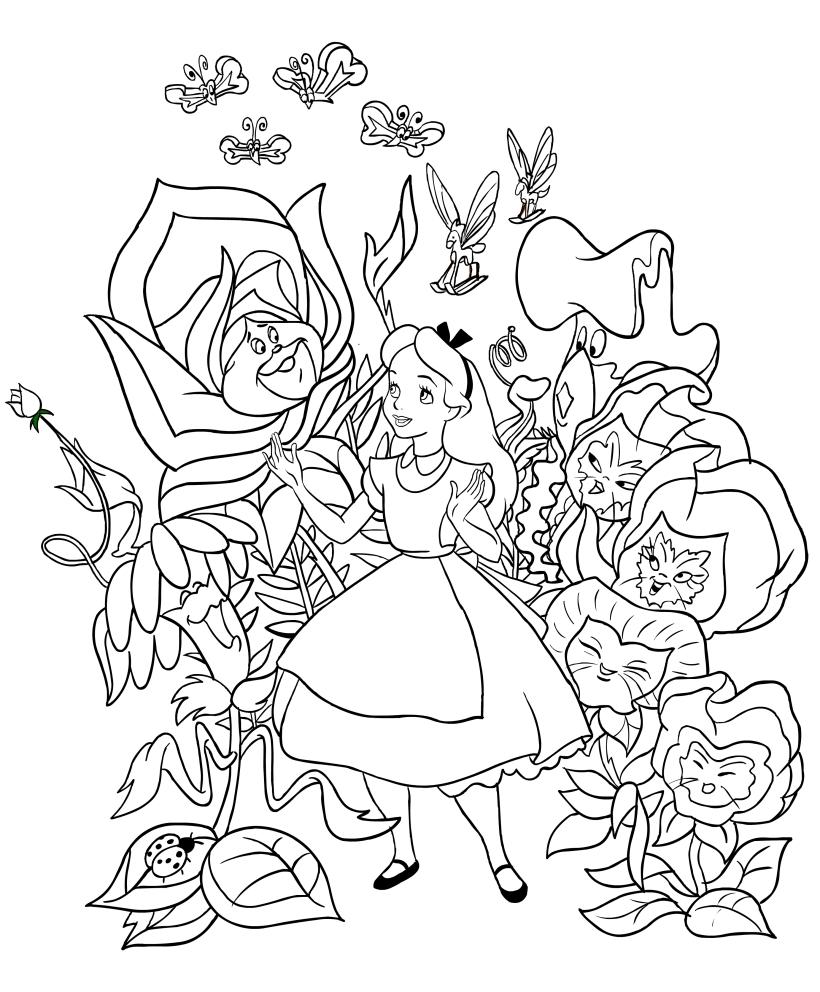 Disegno di alice con i fiori cantanti da colorare for Disegni da stampare e colorare fiori