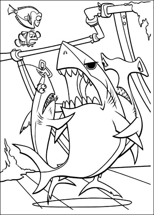Disegno Di Marlin Dory E Gli Squali Alla Ricerca Di Nemo Da Colorare
