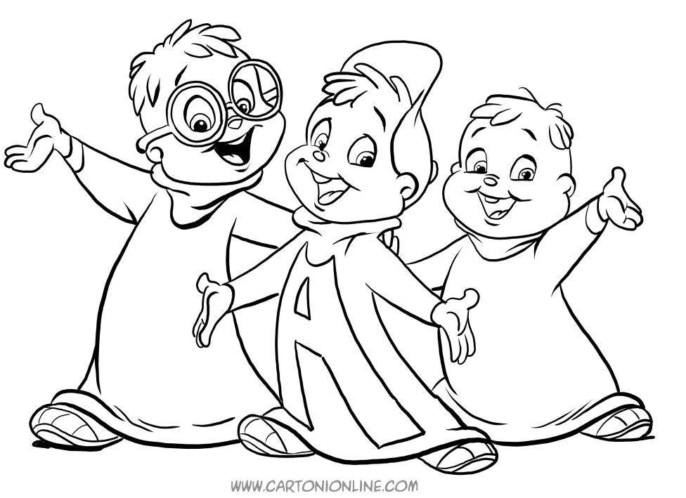 Disegno Di Alvin E I Chipmunks In Versione Cartoon Da Colorare