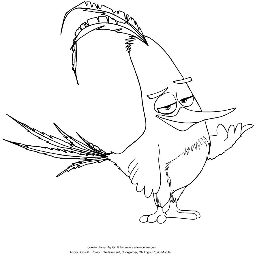 Disegni Da Colorare Angry Birds.Disegno Chuck Di Angry Birds Da Colorare