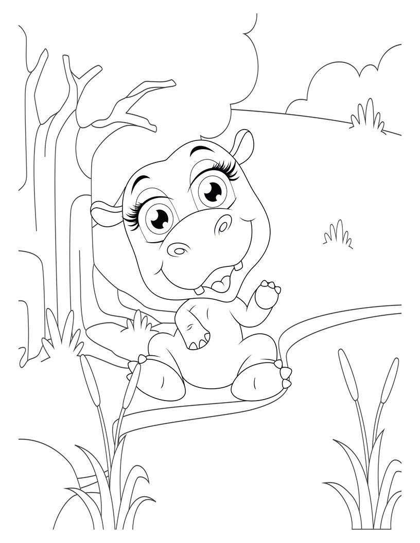 Disegno da colorare di ippopotamo kawaii