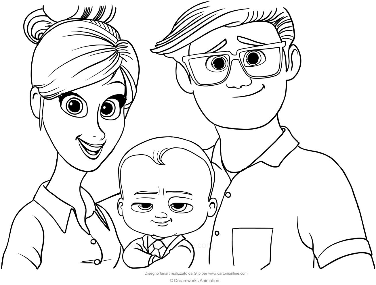 Disegno di Baby Boss con i genitori