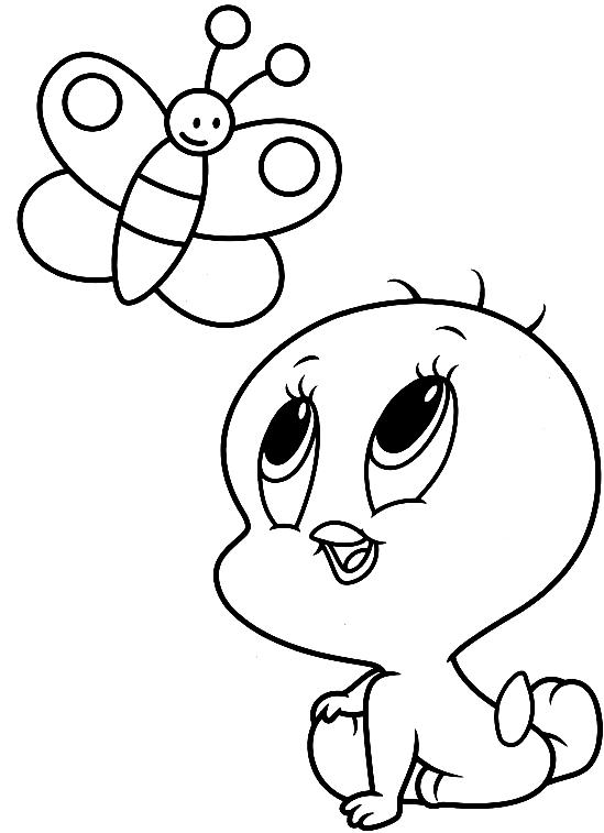 Disegno Di Baby Titti E La Farfalla Baby Looney Tunes Da Colorare
