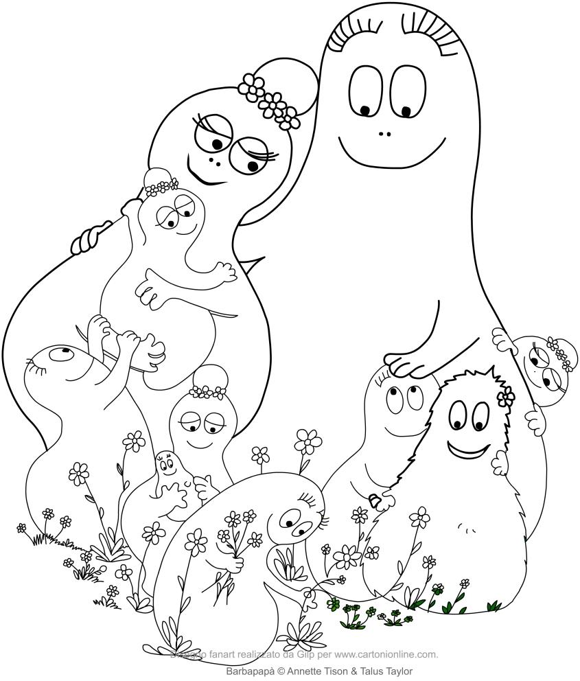Disegno della famiglia Barbapapà stampare e colorare