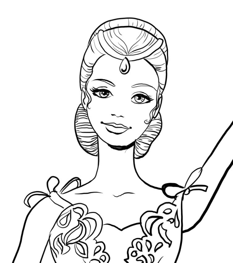 Disegno Di Barbie Ballerina Con Viso In Primo Piano Da Colorare