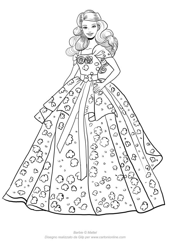 Disegno di Barbie birthday da stampare e colorare