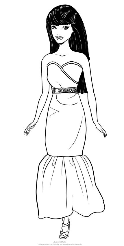Disegno di Barbie dai capelli neri da stampare e colorare