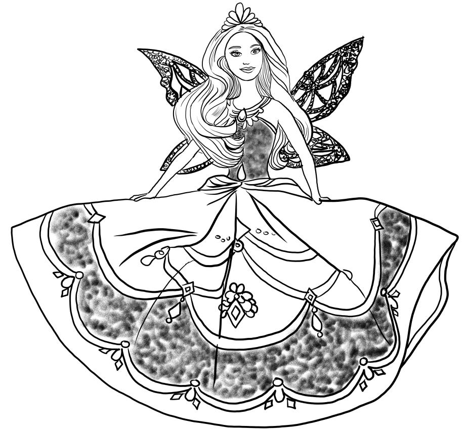 Disegno di barbie principessa catania da colorare for Disegni da colorare barbie