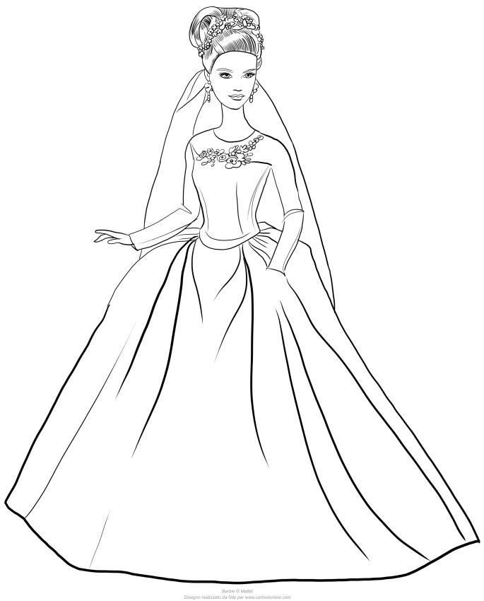 Assepoester Barbie met trouwjurk om af te drukken en te kleuren
