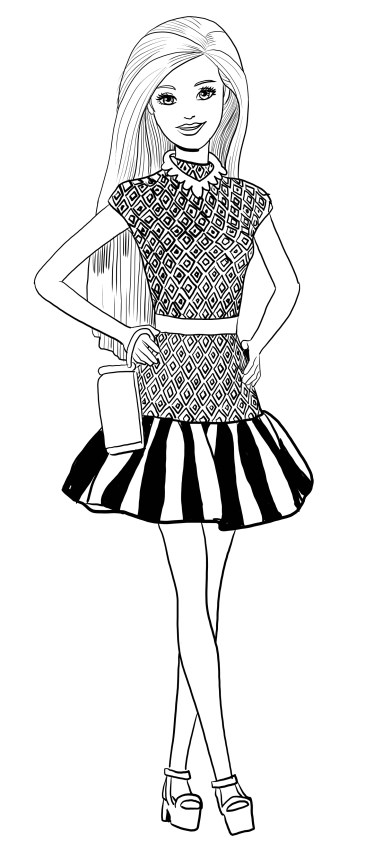 Disegno di barbie fashionista da colorare for Disegni barbie da colorare