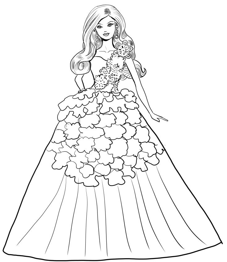 Barbie feestmagie met witte jurk kleurplaat om af te drukken en te kleuren