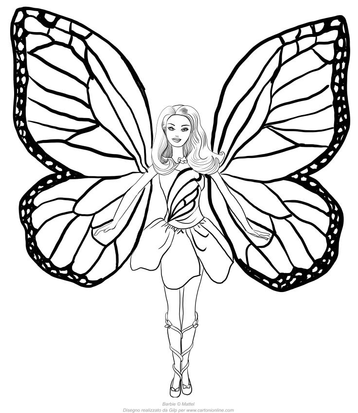 Disegno di Barbie Mariposa da stampare e colorare