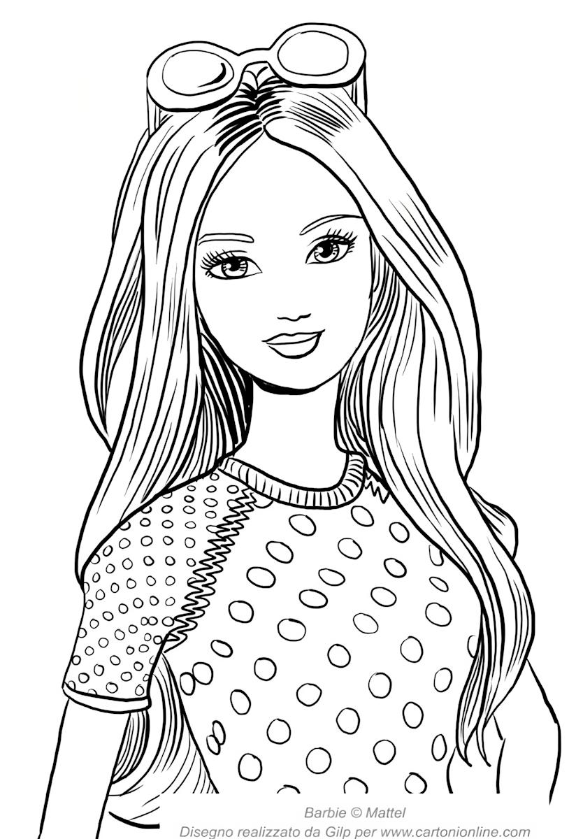 Barbie zomer met gezicht op de voorgrond om af te drukken en te kleuren