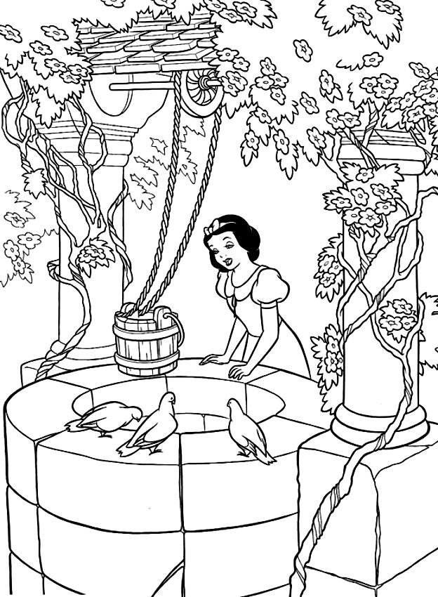 Disegno Di Biancaneve Al Pozzo Da Colorare