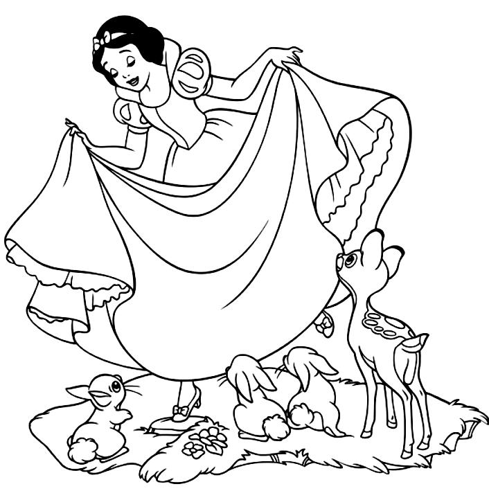 Disegno Di Biancaneve Fra Conigli E Cerbiatti Da Colorare