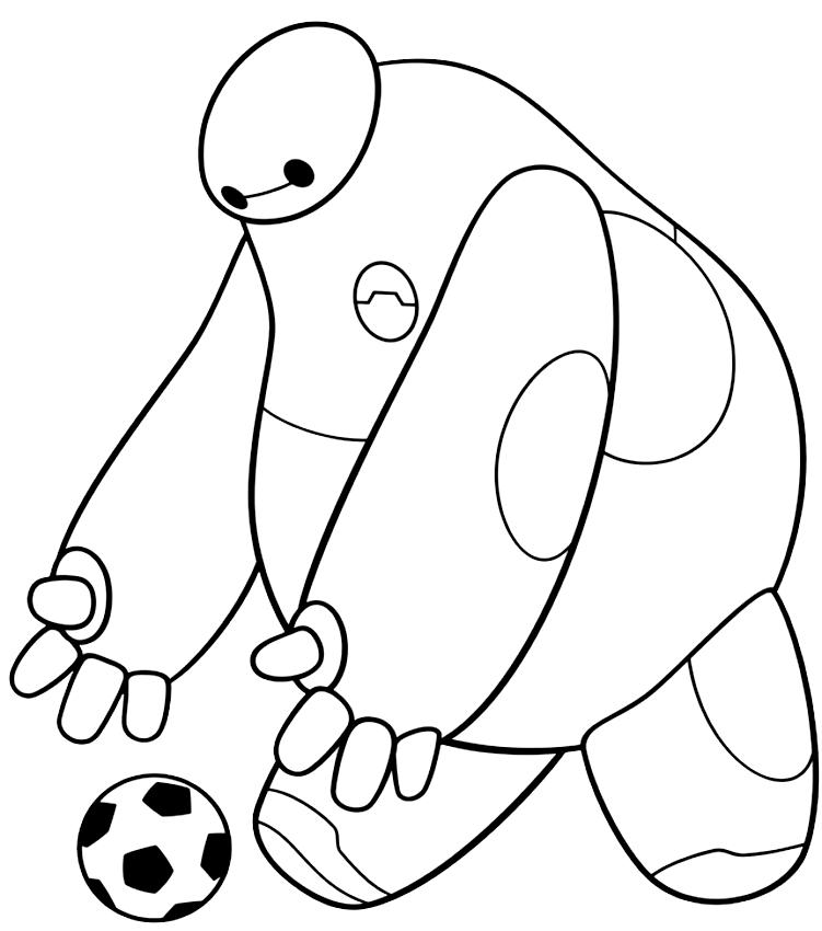 Baymax botter le ballon (Big Hero 6) pour imprimer et colorier