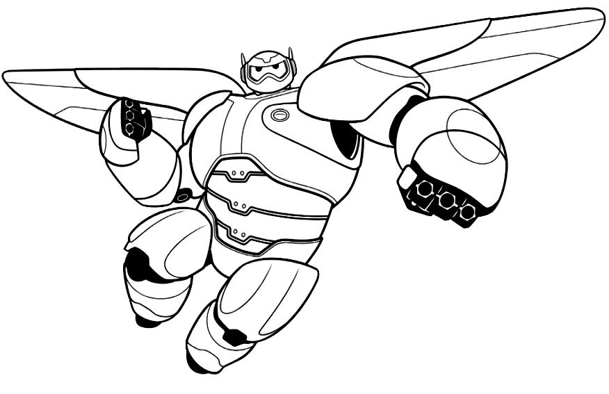 Baymax Big Hero en Vol (Big Hero 6) à imprimer et colorier