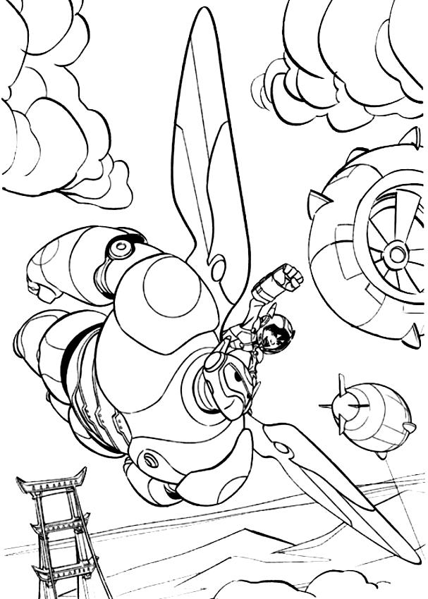 Dessin de Hiro Hamada et Big Hero 6 en vol (Big Hero 6) à imprimer et colorier
