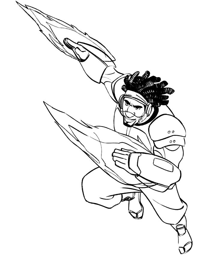 Disegno di Wasabi in azione (Big Hero 6) da stampare e colorare