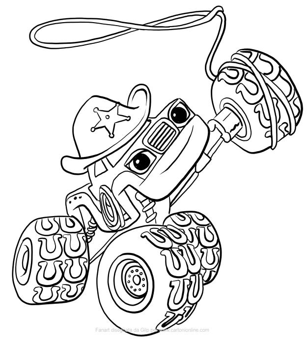 Disegno di Starla di Blaze e le Mega Macchine da stampare e colorare