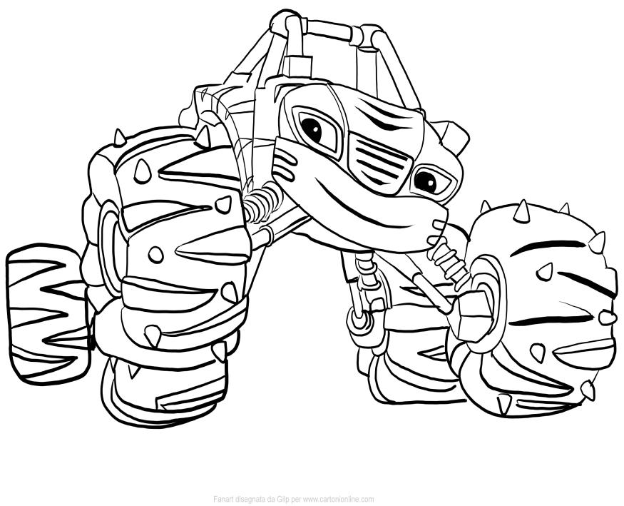 Disegno di Stripes di Blaze e le Mega Macchine da stampare e colorare