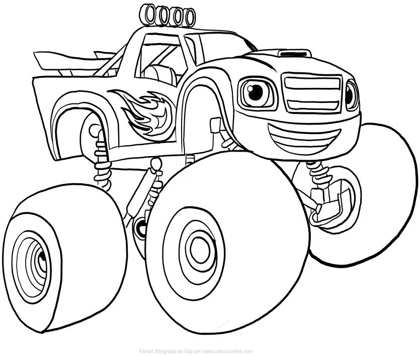 disegno di blaze di blaze e le mega macchine da colorare