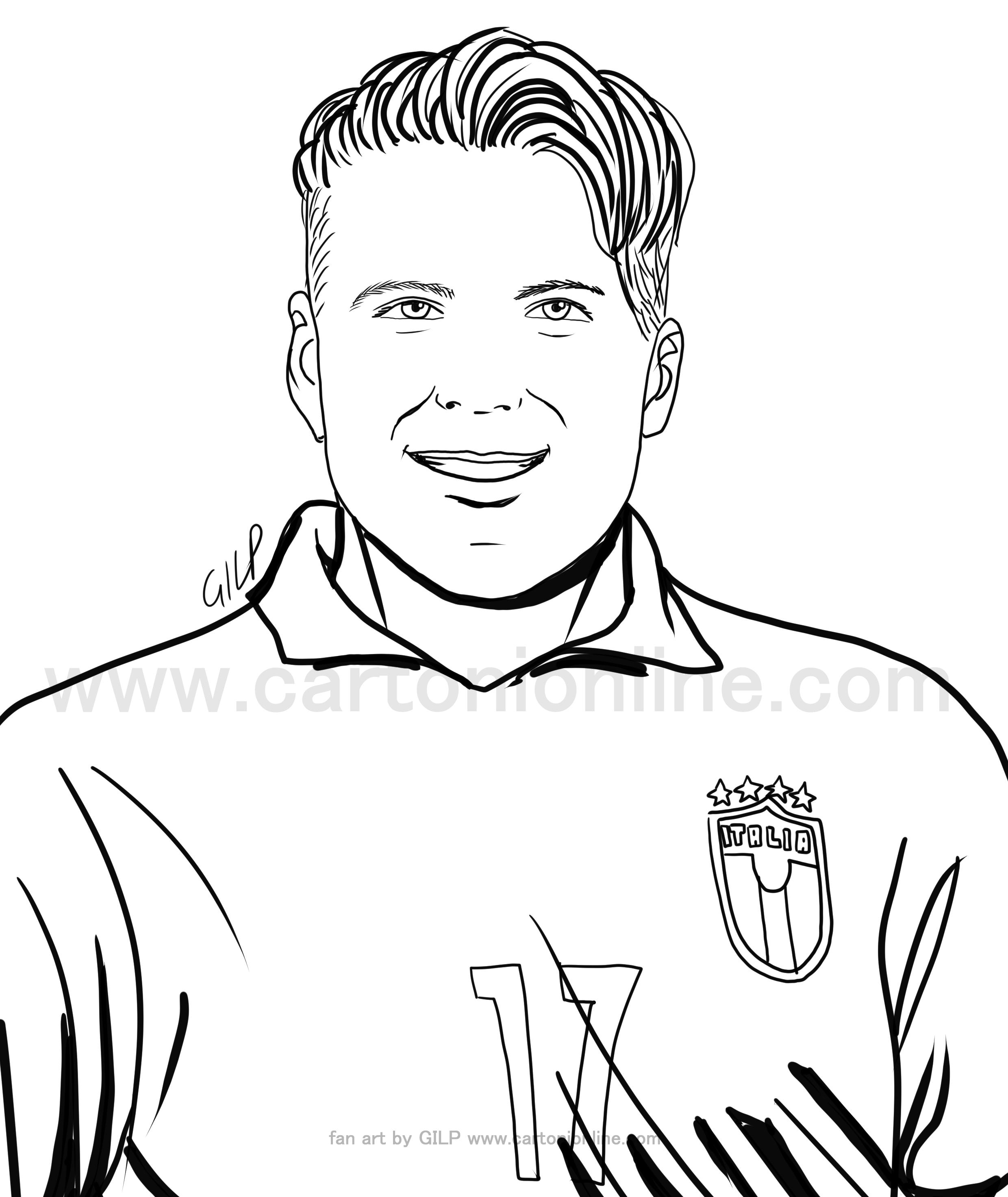 Desenho de Ciro Immobile de jogadores de futebol da itália para imprimir e colorir