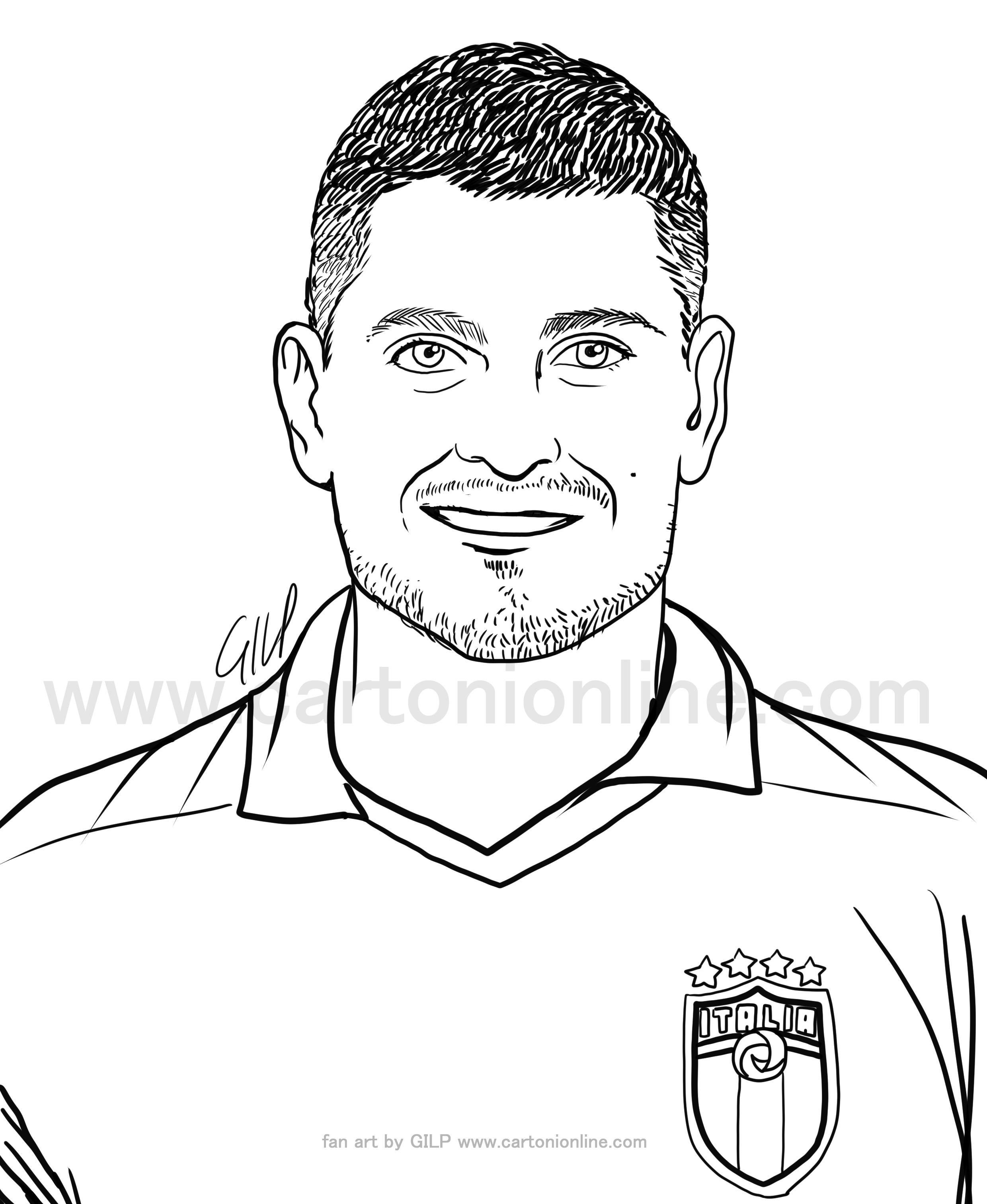 Desenho de Marco Verratti de jogadores de futebol da itália para imprimir e colorir