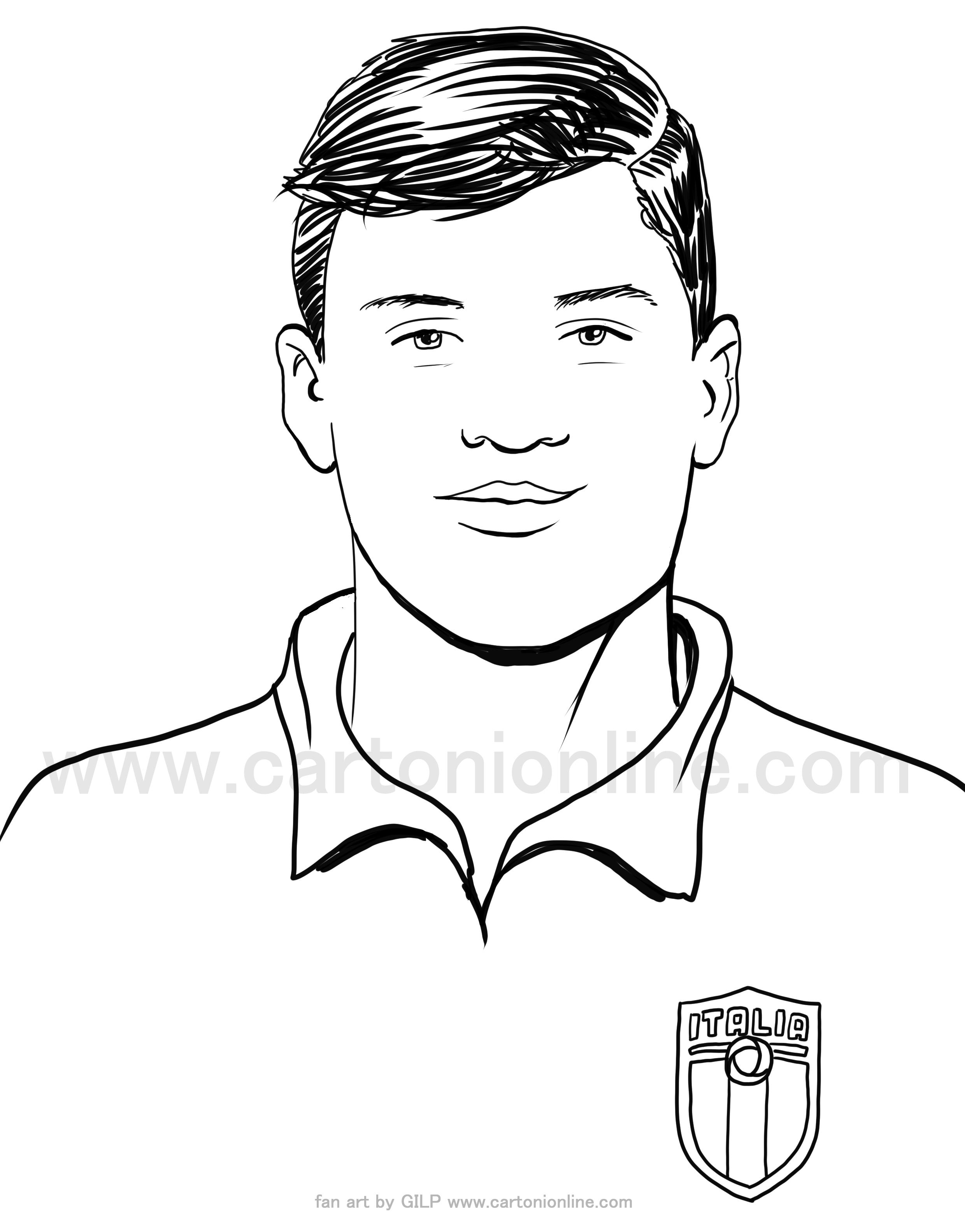 Desenho de Nicolò Barella de jogadores de futebol da itália para imprimir e colorir