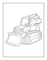 Dibujo de Camión y excavadora para colorear