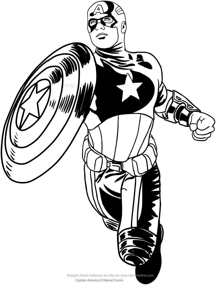 Coloriage de Captain America à imprimer et colorier