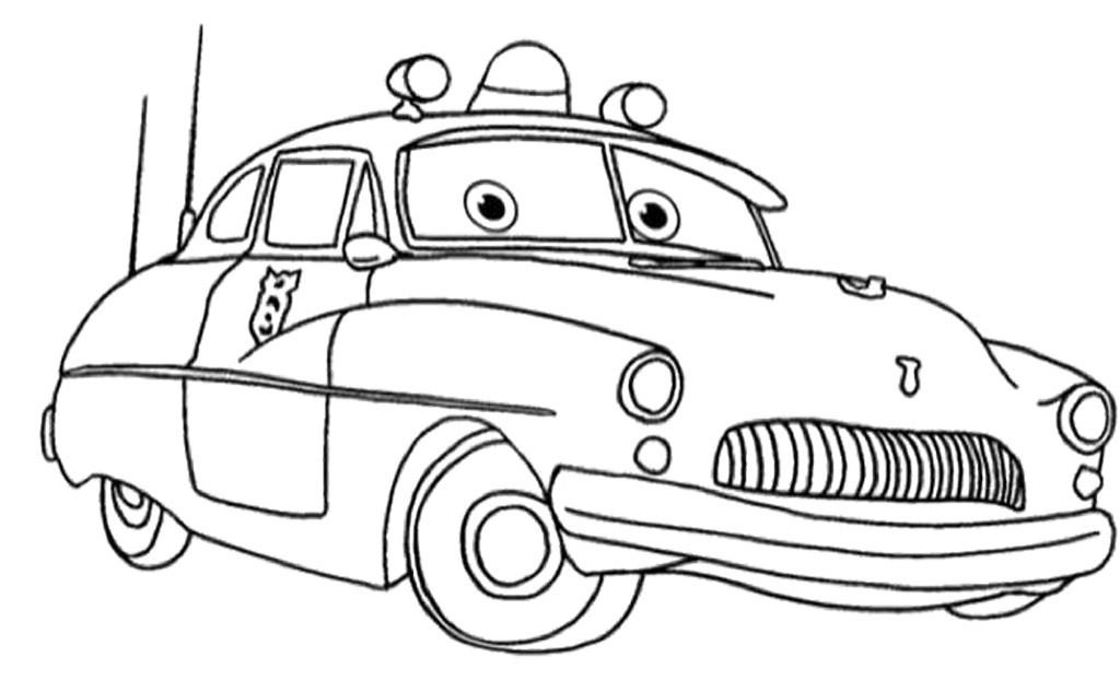 Disegno di cars con sceriffo mercury police car da colorare for Disegni da stampare e colorare cars