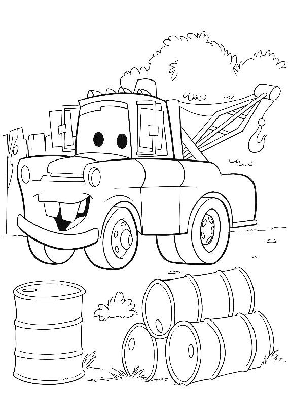 Disegno di cars con cricchetto fra le taniche di benzina for Disegno di cars 2 da colorare