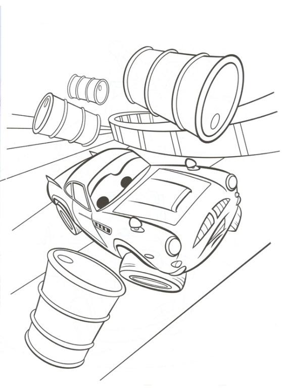 Disegno di cars con finn mcmissile fra i bidoni da colorare for Disegno di cars 2 da colorare